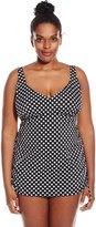 Penbrooke Women's Plus-Size Neutral Spot Adjustable Side Fauxkini One Piece Swimsuit