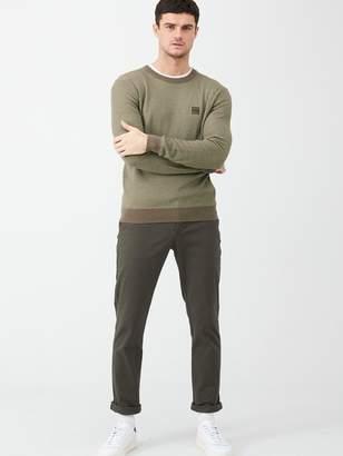 BOSS Kollege Textured Crew Neck Jumper - Khaki