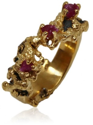 Karolina Bik Jewellery Out Of The Sea Ring With Raw Rubies