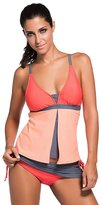 IDEAOLE Womens Padded Push Up Tankini Sets 2 Pieces Swimsuit