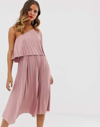 Asos Design DESIGN one shoulder pleated crop top midi dress-Pink