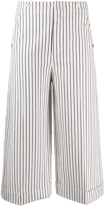 Dondup Cropped Striped Pattern Trousers