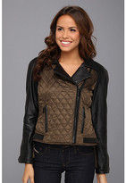 Vince Camuto Quilted Leather and Fabric Moto Jacket