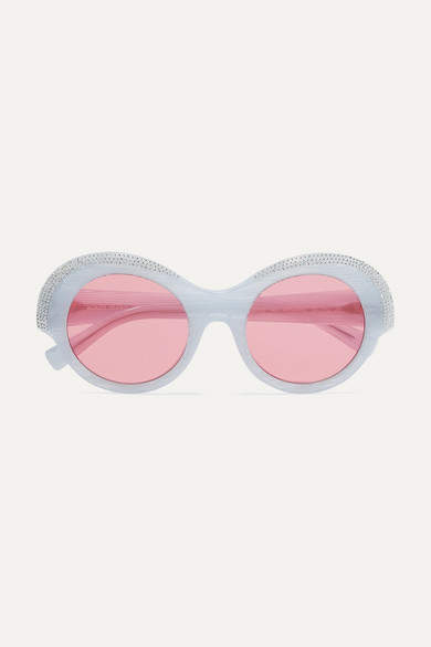 Alexandre Vauthier Alain Mikli Roselyn Round-frame Crystal-embellished Acetate Sunglasses - White