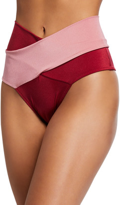 OYE Swimwear Lucette Wrap-Front High-Waist Bikini Swim Bottoms