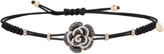 Pippo Perez Pull-Cord Bracelet with Black & White Diamond Rose in 18K White Gold