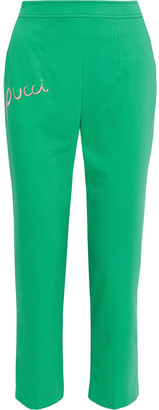 Emilio Pucci Cropped Embroidered Stretch-poplin Tapered Pants