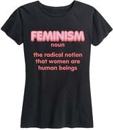 Instant Message Women's Women's Tee Shirts BLACK - Black Neon 'Feminism' Relaxed-Fit Tee - Women