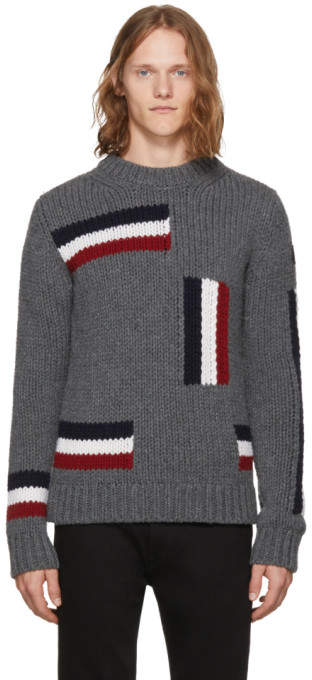 Moncler Grey Tricolor Flag Sweater