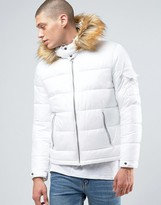 Asos Quilted Jacket With Fur Trim Hood In White