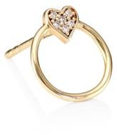 Sydney Evan 14K Yellow Gold & Diamond Circle Heart Stud Earring