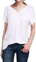 LUOTILIA Womens Modal High-Low Short Sleeve V Neck T Shirt (, L)