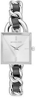 Michael Kors Women's Chain Lock Stainless Steel & Leather Watch