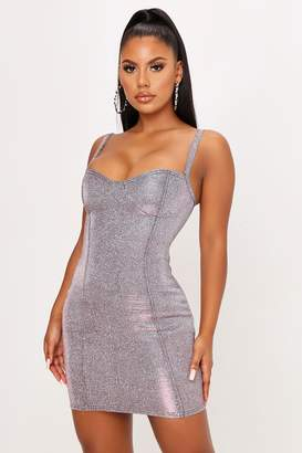 I SAW IT FIRST Blush Pink Glitter Cup Detail Bodycon Dress