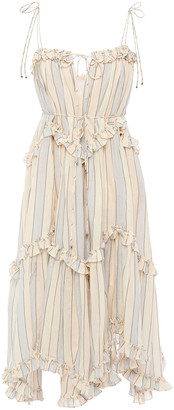 Zimmermann Ruffled Metallic Striped Cotton-blend Dress