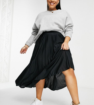ASOS DESIGN Curve pleated midi skirt in black