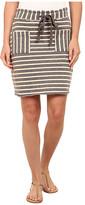 Mod-o-doc Striped Mixed French Terry Raw Edge Stripe Skirt
