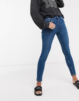 Bershka super skinny 5 pocket jeans in dark blue