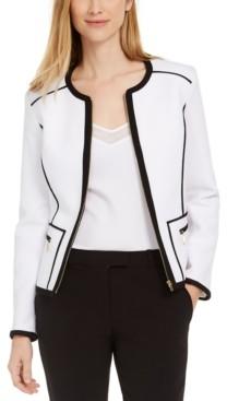 Calvin Klein Petite Pique Piped Zip-Front Jacket