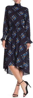 Nanette Nanette Lepore Long Sleeve Mock Neck Printed High/Low Dress