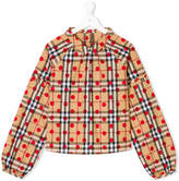 Burberry Teen check polka-dot blouse