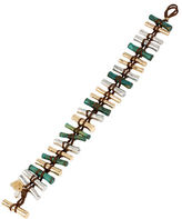Robert Lee Morris Soho Prisma Patina and Mixed Metal Woven Bead Toggle Bracelet