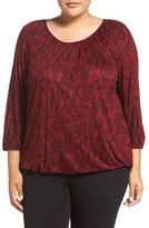 MICHAEL Michael Kors Plus Size Women's Umbria Lace Print Jersey Peasant Top