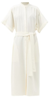 Raey Wide-sleeve Belted Boucle Wool-blend Shirt Dress - Ivory