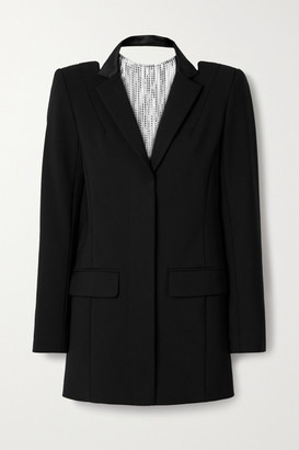 Area Crystal-embellished Woven Mini Dress - Black