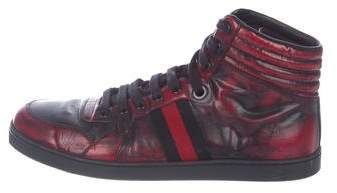 Gucci Leather Web Sneakers