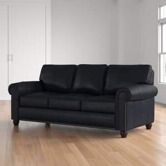 Three Posts Tawanda Craft Leather Sofa Fabric: Black