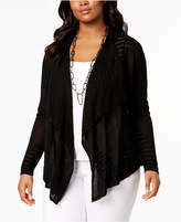 INC International Concepts I.n.c. Plus Size Pointelle-Knit Cardigan, Created for Macy's