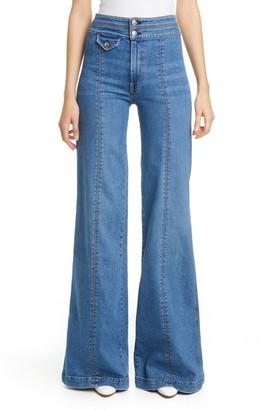 Veronica Beard Ember Seam Detail High Waist Wide Leg Jeans