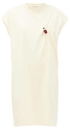 Acne Studios Ering Crystal-brooch Cotton T-shirt Dress - Womens - Cream