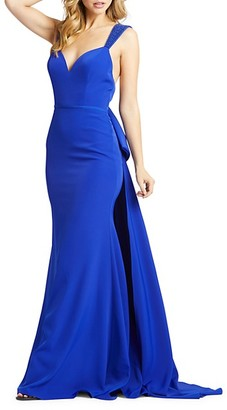Mac Duggal V-Neck Trumpet Gown