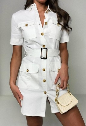 Missguided Stone Utility Pocket Belted Shirt Dress