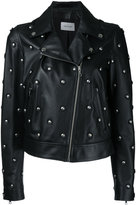 Yves Salomon studded biker jacket - women - Silk/Lamb Skin - 36