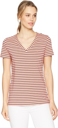 Nautica Women's Short Sleeve Stretch V Neck Stripe T-Shirt