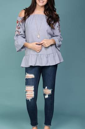 Listicle Off-Shoulder Embroidered Top