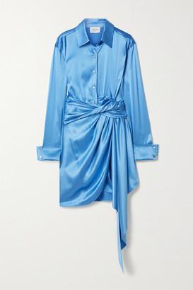 Redemption Tie-front Silk-blend Satin Mini Dress - Blue