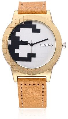 naivo Men's Quartz Watch with Gold Plated Stainless Steel Strap tan (Model: 1)