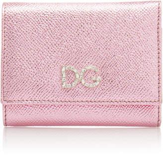 Dolce & Gabbana Crystal-Embellished Metallic Leather Wallet