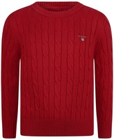 Gant Boys Red Cotton Cable Knit Jumper