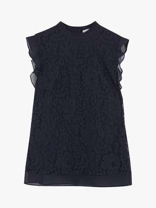 Oasis Lace Mix Shell Top, Navy