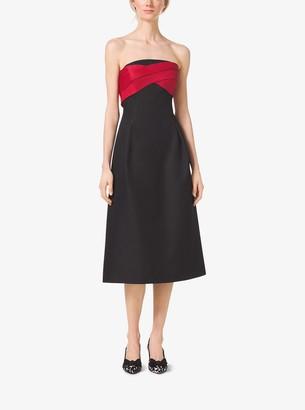 Michael Kors Strapless Silk and Wool Mikado Midi Dress