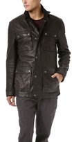 John Varvatos Leather Military Field Jacket