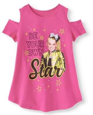 Nickelodeon Jojo Siwa JoJo Siwa Glitter Graphic Cold Shoulder T-Shirt (Little Girls & Big Girls)