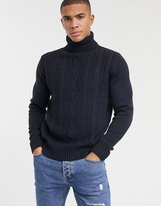 French Connection logo cable wool blend knit turtle neck sweater in navy