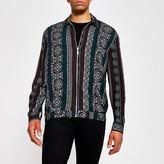 River Island Black print zip front long sleeve overshirt