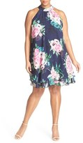 Eliza J Floral Print Chiffon Halter Dress (Plus Size)